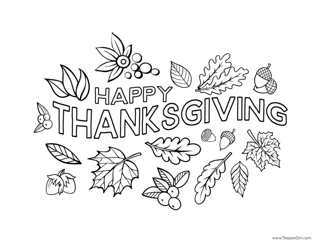 Free coloring pages for adults thanksgiving - Happy Thanksgiving Coloring Page