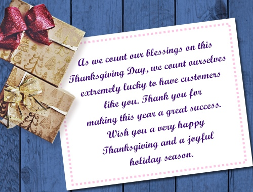 Thanksgiving Messages To Customers