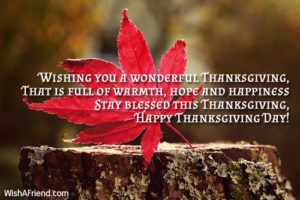 Thanksgiving message to family