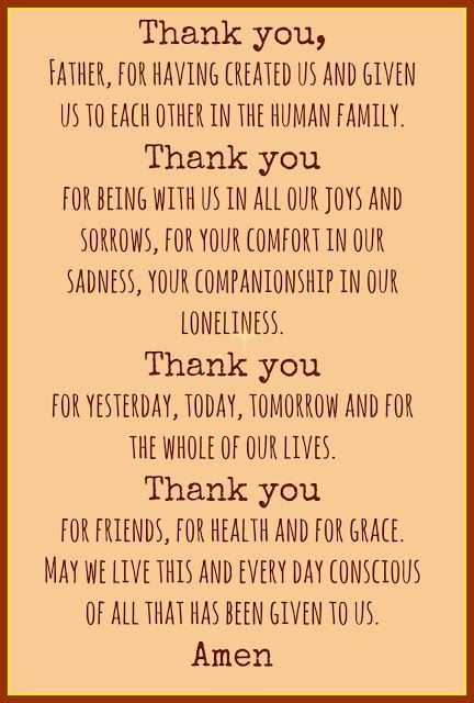 Thanksgiving dinner prayers