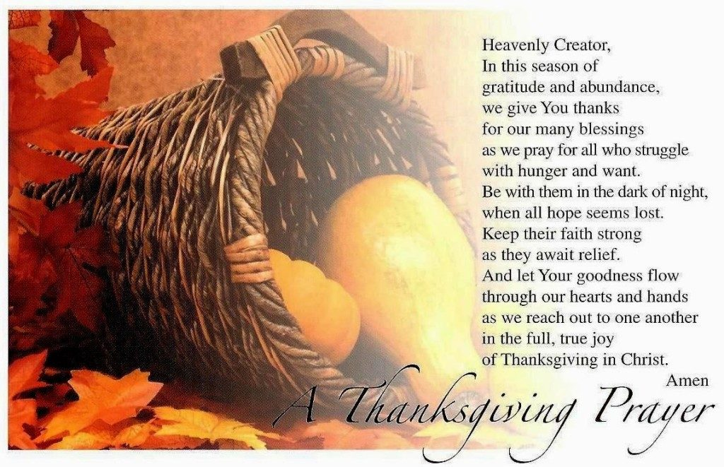 Thanksgiving prayer before meal