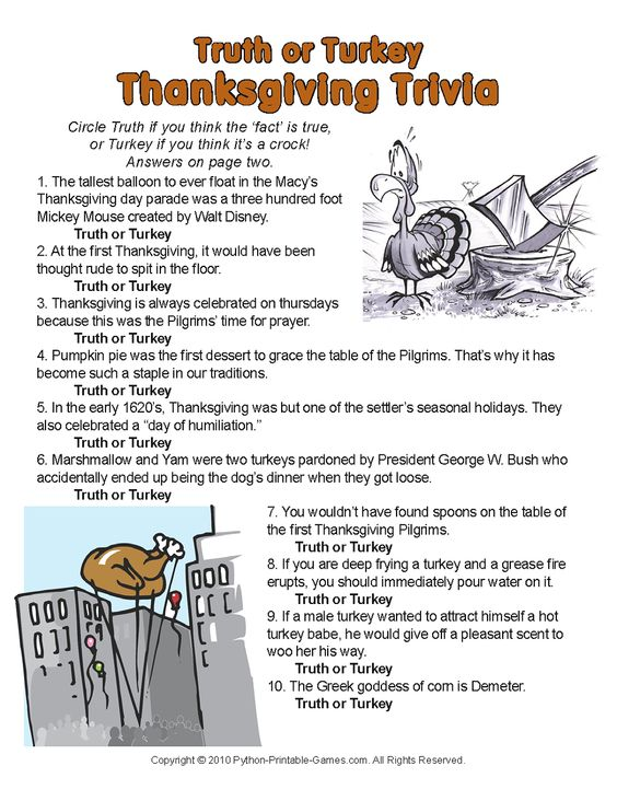 Thanksgiving trivia for kids