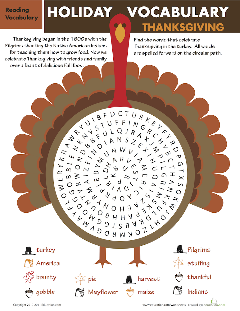 Thanksgiving word search games