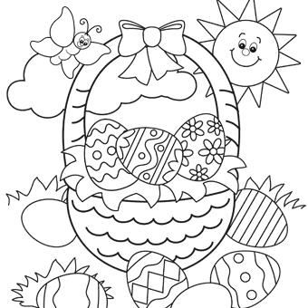 Easter Coloring Page Easter Basket