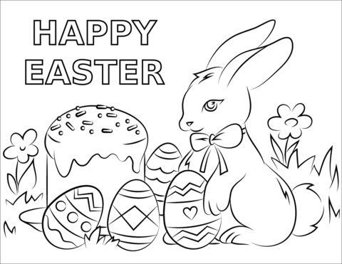 happy easter coloring page 2019