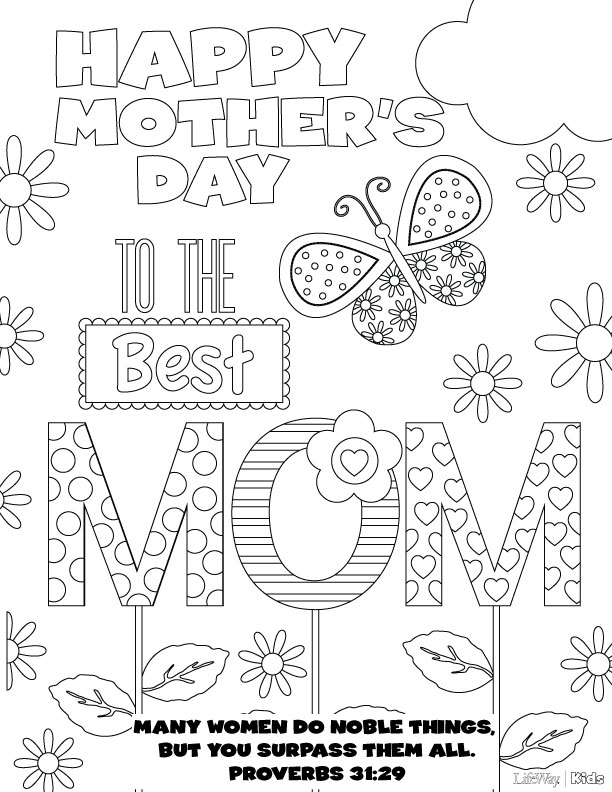 Page To Color On Mothers Day