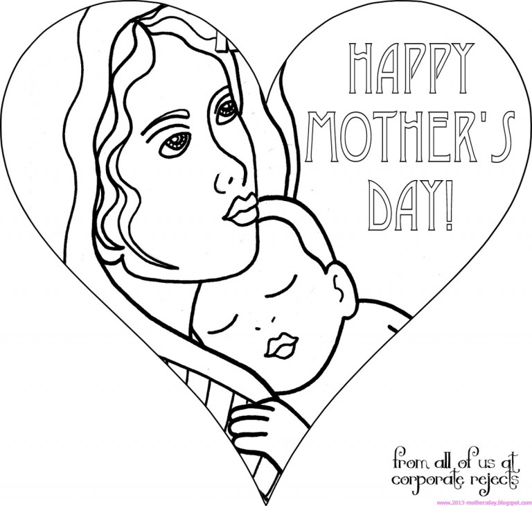 free printable MOM day coloring pages